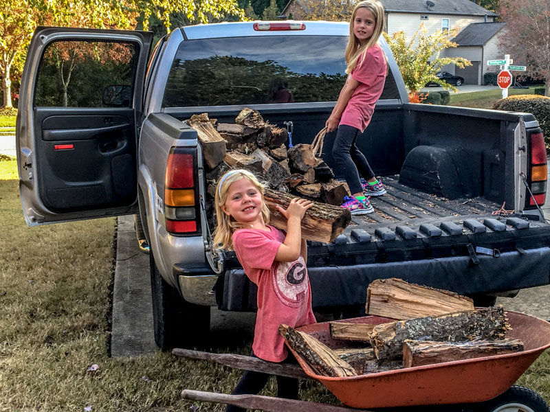 Loading Firewood in truck